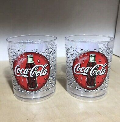 Coca-Cola Plastic Thermo-Serv Clear Cup Set with Logo Made in the USA Vintage