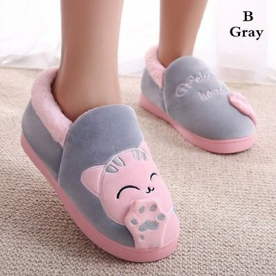 Cartoon Cat Women Indoor Soft Floor Plush Warm Shoes Winter Home Couple Slippers