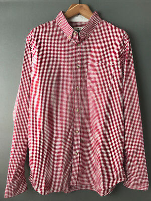 Reigning Champ Red & White Plaid Checked Cotton Mens Long Sleeve Casual Shirt XL