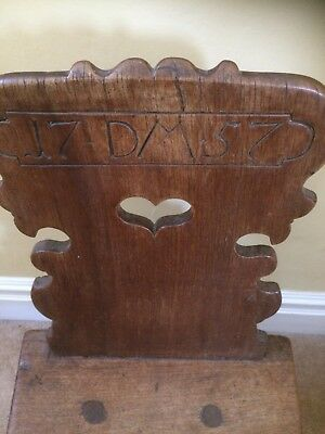 German Moravian  18th C Antique Pierced Heart Carved Chair 1757
