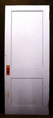 "30""x74"" Antique Vintage Arts Crafts Interior Solid Wood Wooden Door 2 Flat Panel"