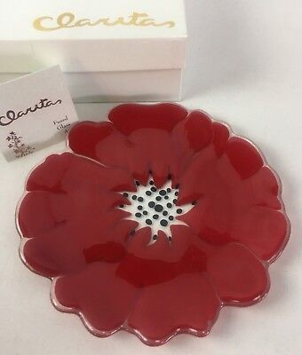 """Claritas Fused Art Glass Plate Signed Small Batch, Red Flower 7 3/4"""" in Box"""