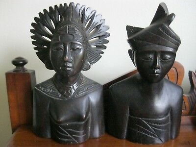 VINTAGE INDONESIAN WOOD SCULPTURES Male And Female with headress