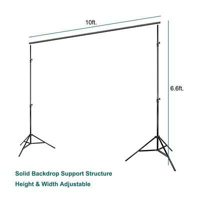 Photo Video Studio 10Ft Adjustable Background Backdrop Support System Stand