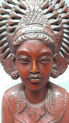 Old Vintage Hand Carved Wooden Balinese Woman Statue Bust Wood Carving Figure...