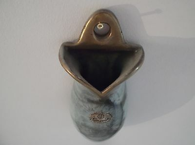 Ceramic Wall Pocket Vase Vintage Urn shaped green and swirly black gold.