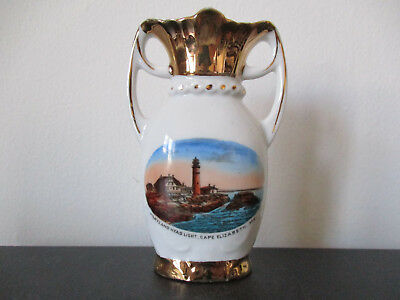 Circa 1915 Souvenir Porcelain Vase Portland Head Light Cape Elizabeth Maine