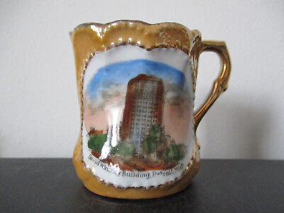 Circa 1915 Souvenir Porcelain Mug David Whitney Building Detriot Michigan