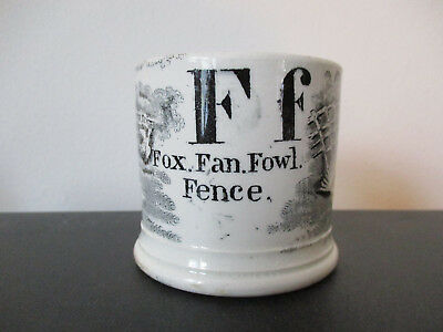 "Staffordshire Pearlware Childs Mug Letter ""F"" Fox Fan Fowl Fence"