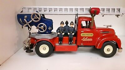 Schuco 6080 DECAL firetruck feuerwagon tin toy wind-up W electric light Germany