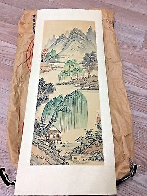 Vintage Japanese Mountain  Landscape Scroll Painting