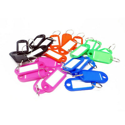 PACK OF 50 Plastic Colour Key Tags with Paper Inserts Split Rings Mixed Assorted
