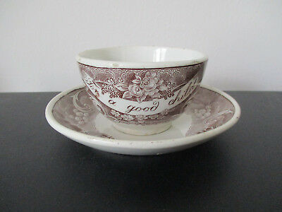 "Staffordshire Pearlware Childs Cup Saucer Pheasants ""For A Good Child"" *"