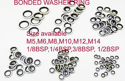 Dowty seal metric OIL PETROL washer bonded M5 M6 M8 M10 M12 M14 100PC
