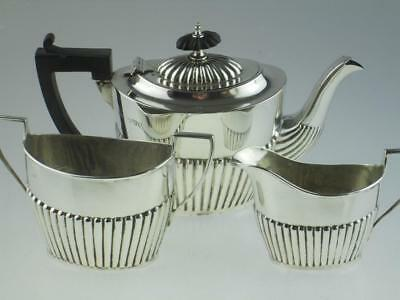 Antique Solid Silver Teapot Set Chester 1901 By William Aitken