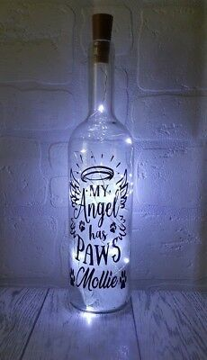 Personalised pet loss memorial My Angel has Paws light up bottle dog cat plaque