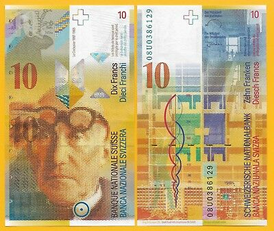 Switzerland 10 Franken p-67c 2008 Sign. Raggenbass & Jordan UNC Banknote