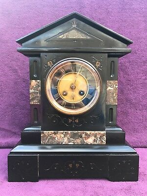 Vintage Antique Big French Belgian Slate / Marble Mantel Clock Working See Video