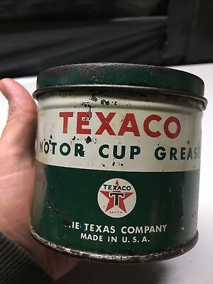 Vintage- Original 1930's Texaco 1 lb. Motor Cup Grease Can - The Texas Company