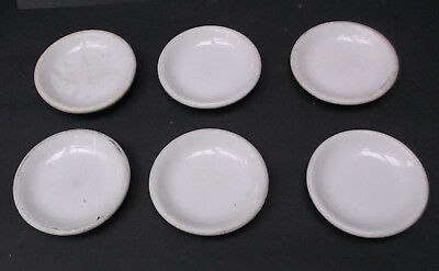 Set of 6 Vintage Butter Pats White Ironstone - ESTATE FIND