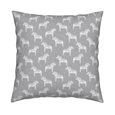 Dala Dala Horse Scandi Throw Pillow Cover w Optional Insert by Roostery