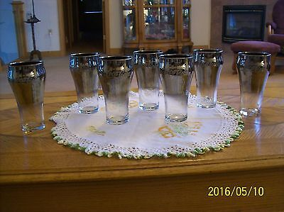 Coca-Cola Vintage Silver Flash Mercury Drinking Glass Glitter Logo Set Of 7