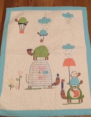 """Land of Nod Quilt TODAY IS A GOOD DAY Crib Coverlet Pastels Turtles 45"""" x 37"""""""
