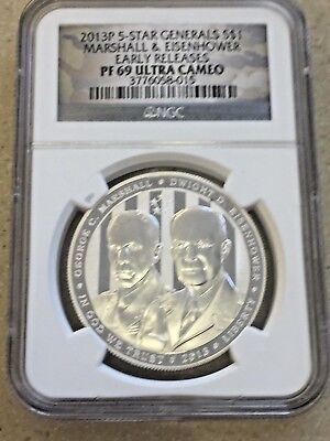 2013 P 5-Star Generals Dollar NGC PF 69 Ultra Cameo Early Release Silver