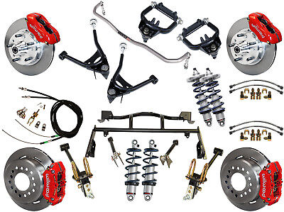 """Ridetech Coilover & 4-Link System & Wilwood Disc Brake Kit,11"""" Rotors,red,67-70"""
