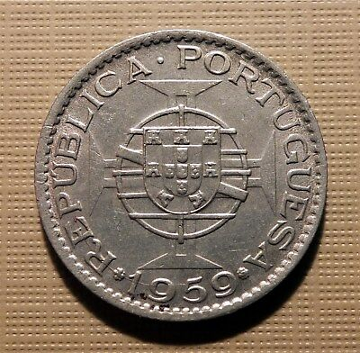 India, Portuguese Goa-1959 - 3 Escudos, Cop-Nick Better Grade, Scarce Km34 Hec