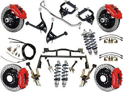 """Ridetech Coilover & 4-Link System & Wilwood Disc Brake Kit,13"""" Drilled,red,67-70"""