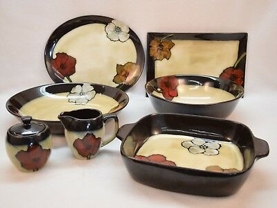 Lot of 7pc Pfaltzgraff 'Painted Poppies' Serving Pieces