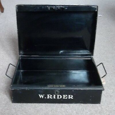 Vintage metal DEED BOX. named W. RIDER. rusty, no key. Film/theatre prop
