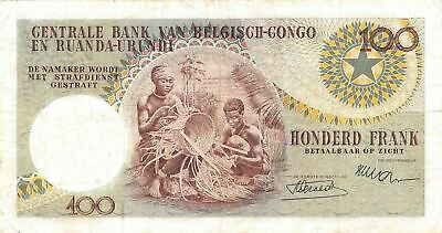 Belgian Congo 100  Francs  1.6.1956  P 33a  Series L  Circulated Banknote