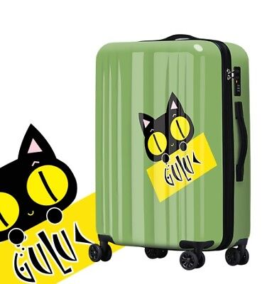 E731 Lock Universal Wheel Cartoon Cat Travel Suitcase Cabin Luggage 20 Inches W