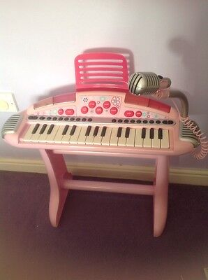 Elc Early Learning Centre Pink Piano Keyboard Carry Along With Light