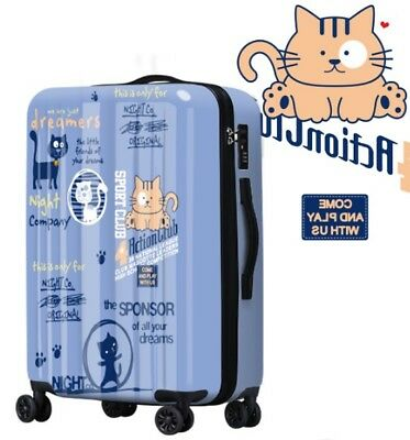 E604 Cartoon Cat Coded Lock Universal Wheel Travel Suitcase Luggage 20 Inches W
