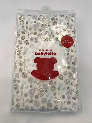 Bedding by Babyletto Fitted Mini Crib Sheet in Tranquil Woods (White Multi) NEW