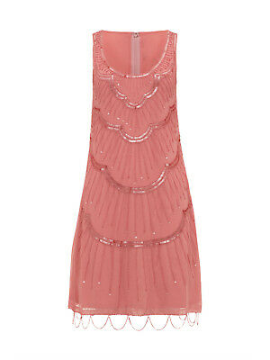 Retro Art Deco Gatsby Flapper 1920's Shift Beaded  Dress Coral Bnwt Size Uk 8