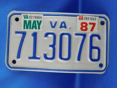 Virginia License Plate Motorcycle May 1987 713076 Bike Car Truck Shop Sign