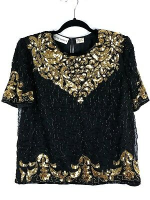 9a8aa5f50cc7 Vintage 70s Sequin Beaded Top Blouse Silk Black Gold Short Sleeve M L