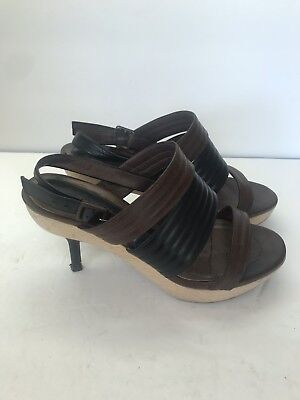 8b224624e22ce MARNI WOMENS BROWN Black Leather Wood Sandals Size 36 Made In Italy