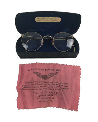 Vintage 1930s American Optical Sunglasses Glasses With Case, Cleaning Cloth 1932