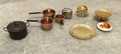 9 Pieces Dollhouse Kitchenware 1990's Set Pans Pot With Lid Toaster Clock