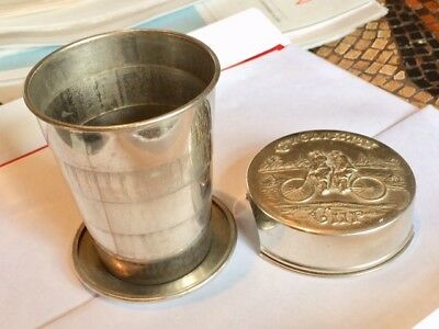 Antique Tandem Cyclist's Cup Silver Plate Collapsible Travel Cup- W/ Inscription