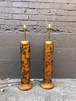 Pair Antique - Vintage Wallpaper or Fabric Print Roller Table Lamp - Industrial