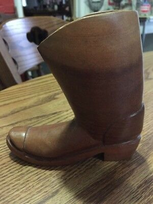 """Hand-Carved Wooden WESTERN COWBOY BOOT 5"""" Tall"""