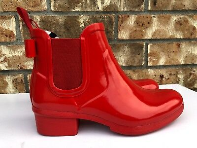 28003e10196c Women s Kate Spade New York Telly Red Rain Boot Ankle Bootie Bow Gold Size 6