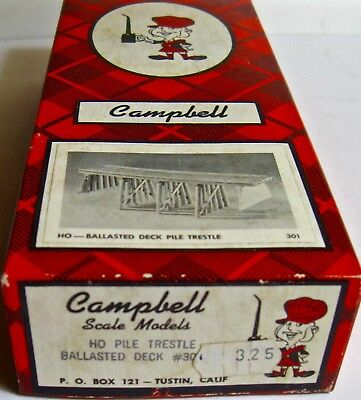 Pile Trestle Ballasted Deck #301  Campbell Scale Models HO Scale
