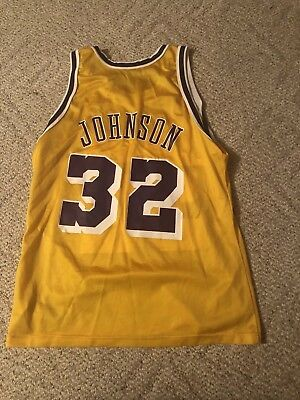2402c737f05 Vintage LA Los Angeles Lakers Earvin Magic Johnson NBA Champion jersey 44  USA